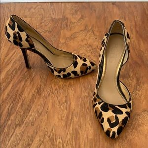 "Leopard print heels with almond toe. 3"" high"